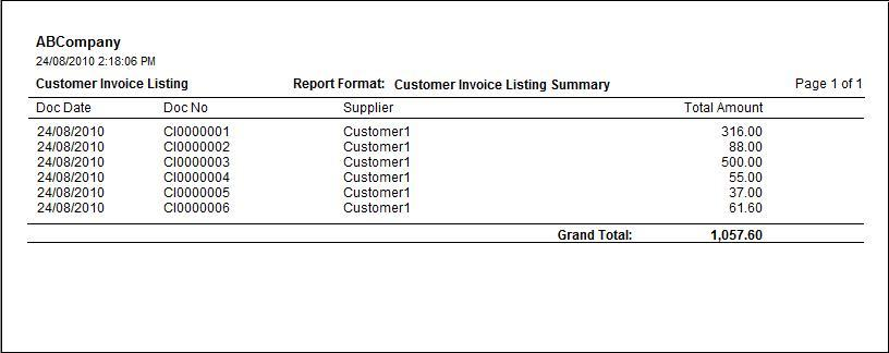customer invoice listing